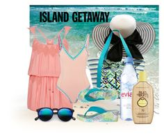 """peach on the beach"" by daincyng ❤ liked on Polyvore featuring Vera Bradley, River Island, kiini, Avon, Evian, Sun Bum and islandgetaway"