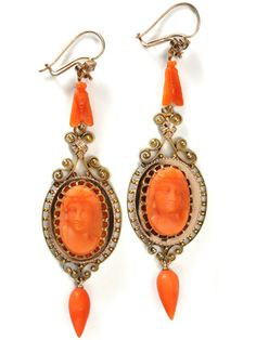 Long Antique Italian Carved Coral Earrings