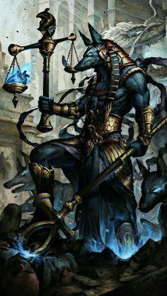 Anubis protecter of the afterlife Ancient Egyptian Deities, Egyptian Goddess, Goddess Art, Egyptian Mythology, Egypt Concept Art, Egyptian Artwork, Anubis Tattoo, Arte Obscura, Dark Fantasy Art