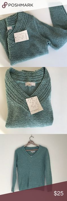 NWT Carolyn Taylor Teal and Black Medium V Neck NWT Carolyn Taylor Teal and Black Medium V Neck Carolyn Taylor Teal (they call it Canal Blue) and Black Medium V Neck. Teal and black threading. V neck with three buttons at V. Very soft and comfortable and flattering. NWT Sweaters V-Necks