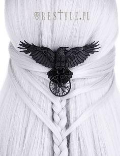 """HELM OF AWE RAVEN HAIRCLIP"" Nordic protection talisman, black crow, healing rune"