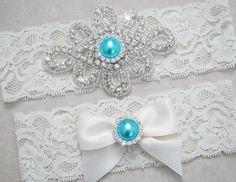 KATE Style A-Wedding Garter Set, Bridal Garter Set, Ivory Lace Garter, Tiffany Blue Garter, Something Blue on Etsy, $22.95