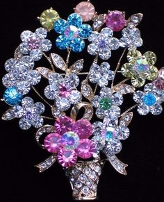 RHINESTONE SPRING MOTHERS DAY EASTER BOUQUET FLOWER BASKET PIN BROOCH JEWELRY  #Unbranded #PINBROOCHJEWELRY