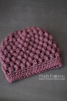 Puff Stitch Messy Bun Hat Crochet Pattern
