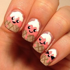 Super cute ice-cream nails - perfect for summer | Follow @naildeck on Instagram for more nail art ideas!