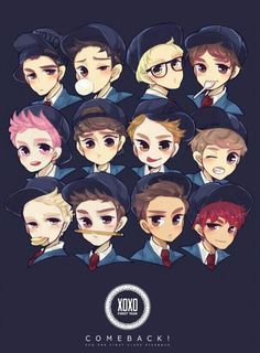 XOXO kris chanyeol chen lay luhan d.o xiumin baekhyun sehun suho kai tao Kpop Exo, Chanyeol, K Pop, Exo Teaser, Exo Cartoon, Cartoon Drawings, Art Drawings, Exo Anime, Exo Fan Art