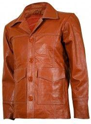 Movie FC Fight Club Tan Leather Biker Jacket