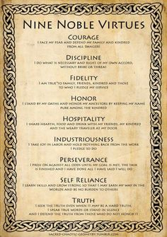 Nine Noble Virtues include nine moral and life-changing codes that can guide anyone to a life of manner of dignity. This is the great Viking spirit. Wisdom Quotes, Life Quotes, Qoutes, Motivational Quotes, Inspirational Quotes, Warrior Quotes, Writing Tips, Self Improvement, Life Lessons