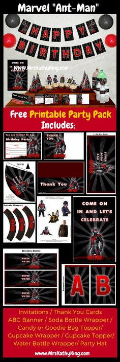 Ant- Man Party Pack - Our Free Marvel Ant-Man Party Pack includes Invitations  AntmanThank You Cards. Marvel Ant-Man Alphabet Banner, Decorative Banner Antman Soda Bottle Wrapper, Ant-Man Water Bottle Wrapper, Antman Birthday Party Hat, Antman Cupcake Wrapper Cupcake Topper, Antman Candy Bag Topper (Click on the image download} 3 #antman #antmanevent