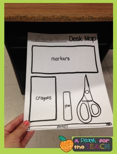 Desk Maps! Have kids trace the objects in their desks. Then, laminate, tape to the bottom of their desks (or desk lids), and they have to make their desks match the maps every day. Super easy tool for self-organization! A Peach for the Teach