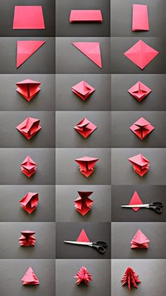Faça estas árvores de Natal  em papel  com a técnica de origami      FULL TUTORIAL HERE   +VIDEO        via MLB                 posts re...
