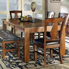 Lakewood Dining Table, Bench, & Side Chair Set by Vendor 3985 at Becker Furniture World Dining Table Legs, 7 Piece Dining Set, Extendable Dining Table, Dining Table In Kitchen, A Table, Dining Chairs, Side Chairs, Casual Dining Rooms, Dining Room Sets