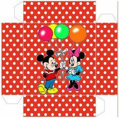 Cajita - invitación de Minnie y Mickey.