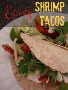 {Easy Shrimp Tacos} Yummy.....looks SO easy!! via grandmabeesrecipes.com