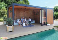 Pool House Garden Shed in Aluminum, Treated Wood and Maluwi Glass 20 m² - Pool House Garden Shed in Aluminum, Treated Wood and Maluwi Glass 20 m² - Gardival Diy Pergola, Pergola Carport, White Pergola, Wood Pergola, Diy Patio, Gazebo, Modern Pergola, Small Pergola, Outdoor Pergola