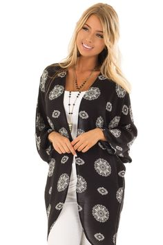 592cd0fd043 Lime Lush Boutique - Black Paisley Print Long Kimono with 3 4 Sleeves