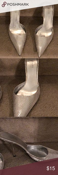 Guess backless pumps in silver print The party won't start until you walk in in these!  Strut your sexy!!  Silver pointy toe slides.  No straps so make sure you can balance.  Dainty and shiny, pair with a little black dress and silver clutch or wear with skinny jeans and a body con top!  Narrow feet may fair better.  These shoes deserve rock star status!! Guess by Marciano Shoes Heels