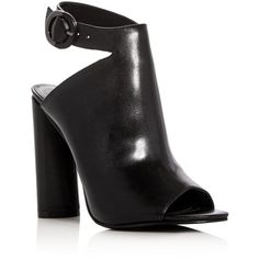 Kendall and Kylie Gigi Leather Peep Toe High Heel Booties (1,595 MXN) ❤ liked on Polyvore featuring shoes, boots, ankle booties, heels, zapatos, black, high heel booties, black ankle booties, black high heel booties and leather booties