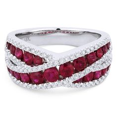 1.87ct Ruby & Diamond Pave Right-Hand Overlap-Design Fashion Ring in 18k White Gold - AM-DR13228 - AlfredAndVincent.com