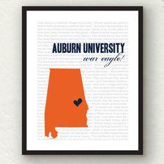Auburn University  - Auburn football print - Auburn tigers 8x10 - War eagle orange and blue. $15.00, via Etsy.