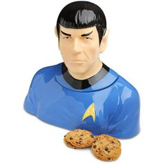 SPOCK COOKIE JAR!!! I'm torn...I just posted the Doctor Who cookie jar I liked but this one is pretty flippin' sweet!!!!