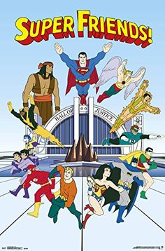 An awesome poster of the Super Friends - classic cartoon superheroes from the DC Comics Justice League! Check out the rest of our amazing selection of DC Comics posters! Classic Cartoon Characters, Classic Cartoons, Book Characters, Gi Joe, Desenhos Hanna Barbera, Superhero Cartoon, Superman Movies, Superman Family, Batman Poster