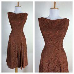 Vintage 1950s Brown Floral Lace Dance Cocktail Party Dress M | eBay