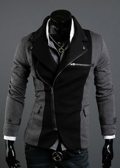 Long Sleeve Splicing Zipper Men Grey Casual Cotton Suit M/L/XL/XXL @X70308g