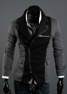 Long Sleeve Splicing Zipper Men Grey Casual Cotton Suit M/L/XL/XXL @X70308g
