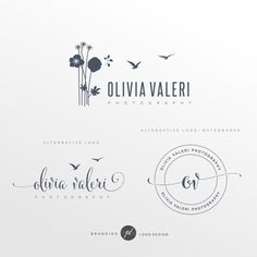 Simple flower logo, Logo design, Branding Kit, Photography logo, Shabby Chic Logo, Blog logo, Boho logo, Watermark, Stamp, Logo package, 53