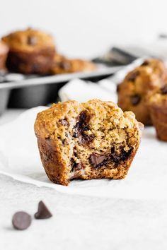 Skinny Banana Chocolate Chip Muffins   Ambitious Kitchen Banana Recipes, Muffin Recipes, Snack Recipes, Dessert Recipes, Desserts, Yummy Recipes, Healthy Banana Muffins, Banana Chocolate Chip Muffins, Chocolate Chips