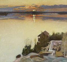 huariqueje:    Sunset at Lake Tuusula  -  Pekka Halonen 1902  Finnish 1865-1933