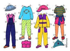 Karen`s Paper Dolls: Tine 1-3 Paper Doll in Colours. Tine 1-3 påklædningsdukke i farver.