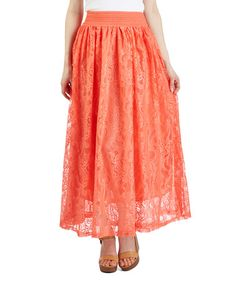 Another great find on #zulily! Coral Lace Maxi Skirt #zulilyfinds