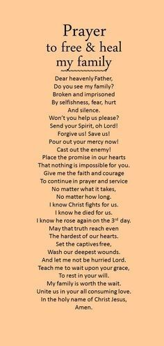 Prayer to free and heal my family.