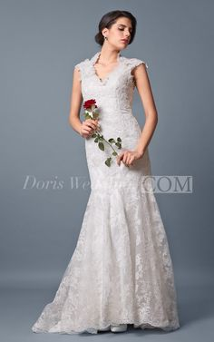 Unique Cap Sleeved Slim Line Lace Wedding Gown Dress 2016 Wedding Dress Design. Beautiful wedding dress waiting to be discovered at doriswedding.com with cheap wedding dress prices. #DorisWedding.com  #lace #gown #dress #designer