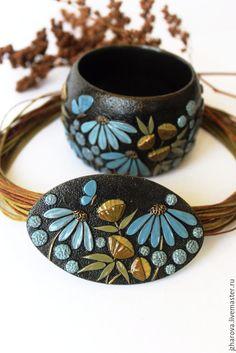 Купить Комплект из полимерной глины кулон и браслет Лето - комбинированный, комплект кулон и браслет