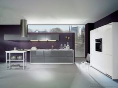 #Kitchen Idea of the Day: Modern Gray Kitchen (By ALNO, AG) with purple accent wall.
