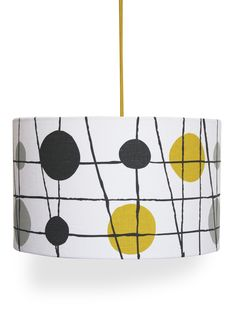 Hand screen printed linen lampshade in Mustard, Welsh Slate and Concrete onto crisp white Irish linen. This shade can be used as either a pendant or a lamp shade. Gray Playroom, Lampshade Designs, Lampshade Ideas, Dark Wood Furniture, Retro Furniture, Pavilion Design, Yellow Home Decor, Shades Of Gold, Printed Linen