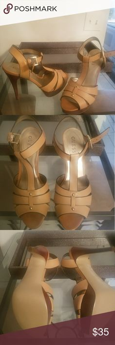 Tan Guess sandal heels Like new tan sandal heels from Guess. About 4.5 inches high. Sturdy heel and comfy platform. Never worn. Super cute for summer. Guess Shoes Heels
