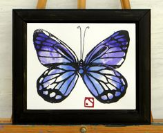 I painted this in the same garden where I grew that lavender with all the bees on it.  Violet and Indigo Butterfly Original by HammerandCoil