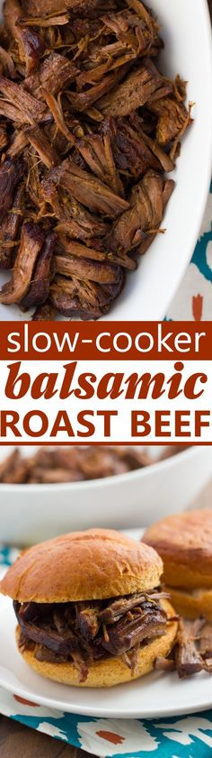 Slow-Cooker Balsamic Roast Beef! Amazingly tender, savory roast beef easily made in the slow-cooker with just 10 min prep. Delicious as pot roast or as a French-dip type sandwich! (Gluten-Free) (Gluten Free Recipes Freezer)
