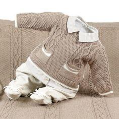 Saída de Maternidade Beth Bebê Masculina Tricô Thiago Cáqui Baby Knitting Patterns, Beth Bebe, Crochet Bebe, Baby Sweaters, Kids And Parenting, Knit Cardigan, Boy Outfits, Baby Gifts, Baby Boy