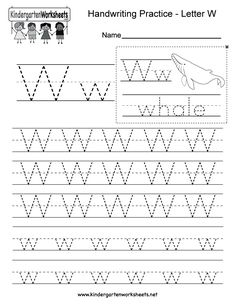 "This is a letter W tracing worksheet. Children can trace uppercase and lowercase letters and the word ""whale."" You can download, print, or use it online. Free Printable Alphabet Worksheets, Letter Tracing Worksheets, Tracing Letters, Uppercase And Lowercase Letters, Kindergarten Worksheets, Lower Case Letters, Whale, Lettering, Words"