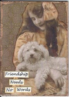 ACEO-Art-Card-Collage-Original-Woman-Dog-Poodle-Bichon-Friendship-Needs-No-Words