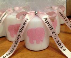 30 Baby Shower Favors Pink Elephant Themed by RibbonPersonalized, $45.00 WWW.INFANTEENIEBEENIE.COM