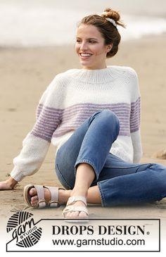 Free knitting patterns and crochet patterns by DROPS Design Drops Cotton Light, Drops Kid Silk, Drops Baby, Sweater Knitting Patterns, Knitting Designs, Knit Patterns, Clothing Patterns, Drops Design, Summer Knitting