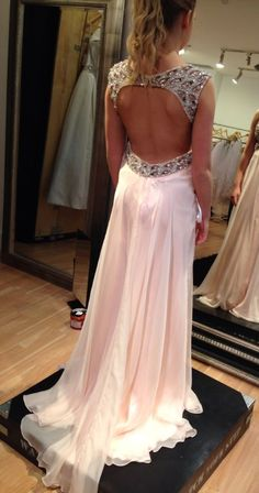 Backless Embroidered Evening Gown