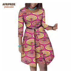 2018 verão vestido africano para as mulheres AFRIPRIDE luva dos três quartos do joelho-comprimento vestido de algodão mulheres com faixas botão A1825063