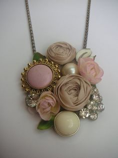 Repinned from Pinterest....LOVE combo of hard and soft in this pretty collaged piece.  Now....how would it look if it had a beaded, pieced neckline....maybe of similar materials: rolled roses, pearls, vintage glass?